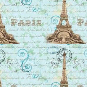 Paris Vintage French Wirting Aqua