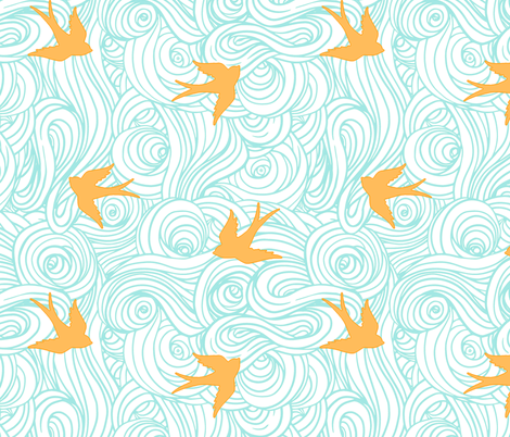 Ocean Flight, in Canary and Turquoise fabric by sparrowsong on Spoonflower - custom fabric