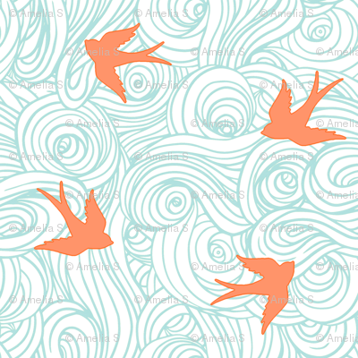 Ocean Flight, in Turquoise and Tangerine