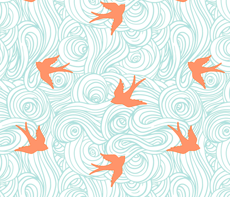 Ocean Flight, in Turquoise and Tangerine fabric by sparrowsong on Spoonflower - custom fabric