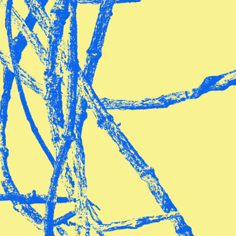 Blue Vines on Yellow