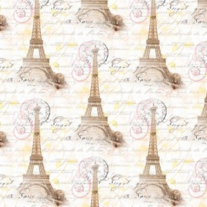 Paris Vintage French Writing Pink Cream