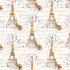 Paris Vintage French Writing Pink Cream