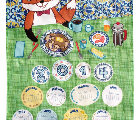 Foxy Breakfast Tea Towel Calendar