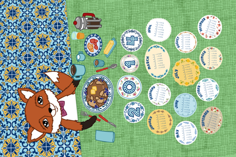 Foxy Breakfast Tea Towel Calendar fabric by agnesbartonsabo on Spoonflower - custom fabric
