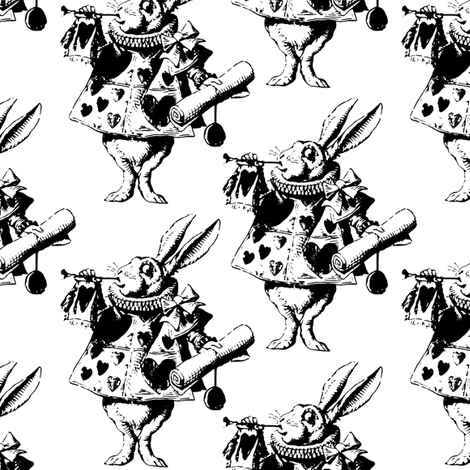 The White Rabbit fabric by pond_ripple on Spoonflower - custom fabric
