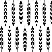 Geometric Feathers Black and White
