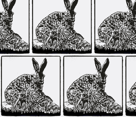 Hare and leverets 2-ch-ed fabric by madsamcollections on Spoonflower - custom fabric