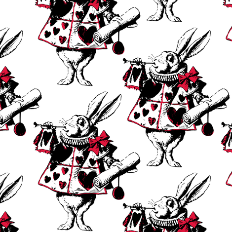 The White Rabbit with Red fabric by pond_ripple on Spoonflower - custom fabric