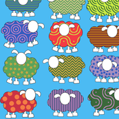 Patterned sheep on blue!