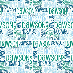 Personalised Name Fabric - Green and Blues