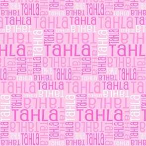 Personalised Name Fabric - Pink and Pink