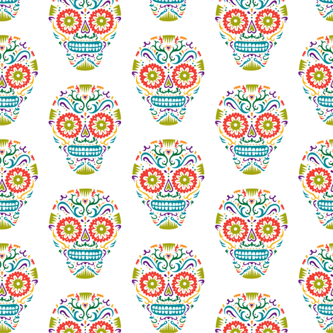 Sugar Skulls SF sunshine fabric by andibird on Spoonflower - custom fabric