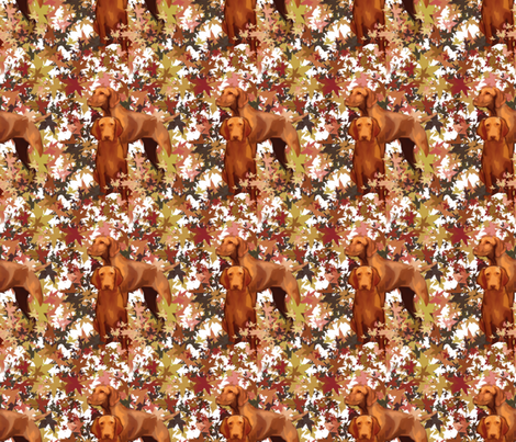Vizslas and Autumn Leaves fabric by dogdaze_ on Spoonflower - custom fabric