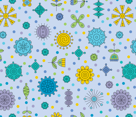 Happy Geos blue fabric by andibird on Spoonflower - custom fabric