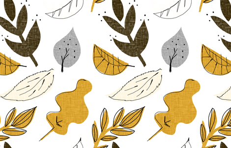 fall leaves fabric by mummysam on Spoonflower - custom fabric