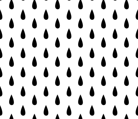 Large Black and White Raindrops Vertical  fabric by sierra_gallagher on Spoonflower - custom fabric