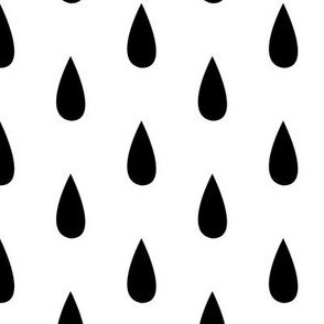Large Black and White Raindrops Vertical