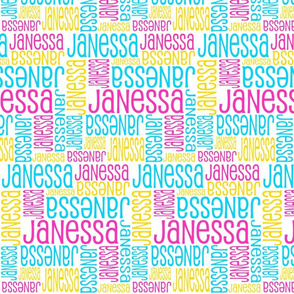 Personalised Name Fabric - Pink Aqua Yellow