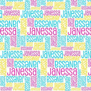 Personalised Name Fabric - Pink Aqua Yellow