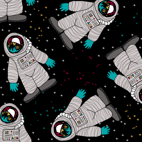 Spacemen with Constellations fabric by pond_ripple on Spoonflower - custom fabric