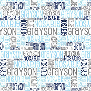 Personalised Name Fabric - Lt Blue, Grey, Navy
