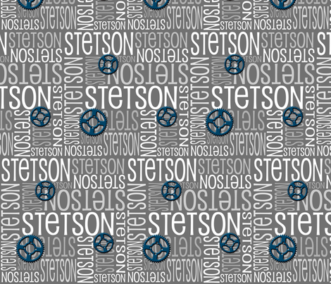 Personalised Name Fabric - Grey Gears
