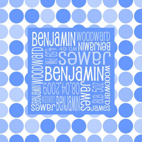 Personalised Birth Cushion Panel - Blue Spots