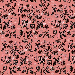 Pink Bird and Leaf Print