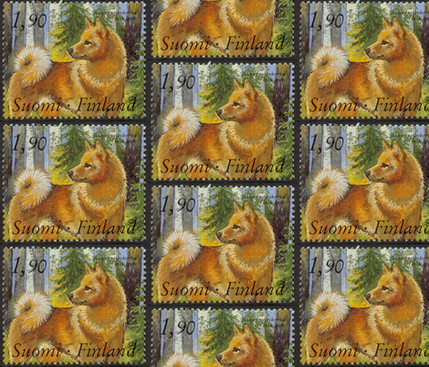 Finnish_Spitz_Postage_Stamp fabric by dogdaze_ on Spoonflower - custom fabric