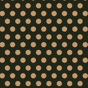 Mocha Dots on Dark Green