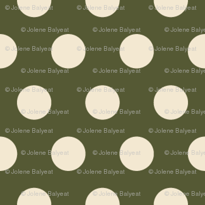 Dots in Cream on Green