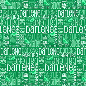 Personalised Name Fabric - Green Birds