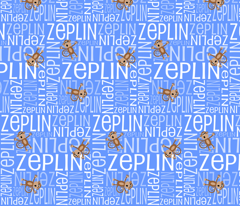 Personalised Name Fabric - Monkeys in Blue 3