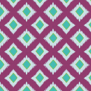Elephant Festival Simple Ikat Diamonds in Turquoise and Purple