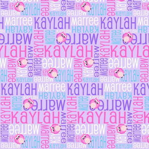 Personalised Name Fabric - Owls in Purple Pink and Aqua