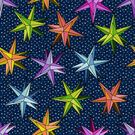 polaris folk art stars fabric by glimmericks on Spoonflower - custom fabric