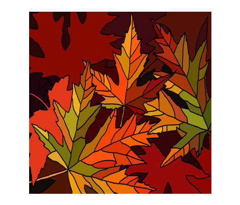 Fall leaves square fabric by luckyrobin on Spoonflower - custom fabric