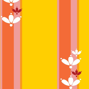 Floral Stripe in Yellow and Pink
