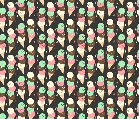 Ice Cream Social - Small Slate fabric by hugandkiss on Spoonflower - custom fabric