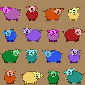 Colorful rainbow pigs
