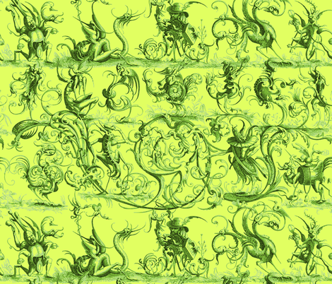 Most Wonderful and Strange Toile ~ Absinthe of Doubt fabric by peacoquettedesigns on Spoonflower - custom fabric