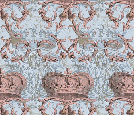 Crown Damask ~ Le Dauphin II ~ Gilt and Silvered fabric by peacoquettedesigns on Spoonflower - custom fabric