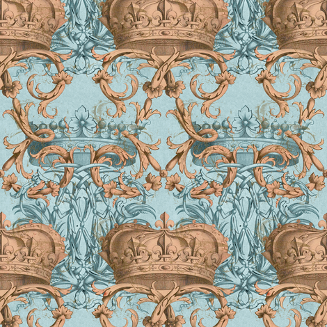 Crown Damask ~ Josephine and Napoleon ~ Gilt fabric by peacoquettedesigns on Spoonflower - custom fabric