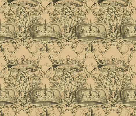 Crown Damask ~ Parchment fabric by peacoquettedesigns on Spoonflower - custom fabric