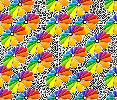 Rainbow Daisy fabric by whimzwhirled on Spoonflower - custom fabric