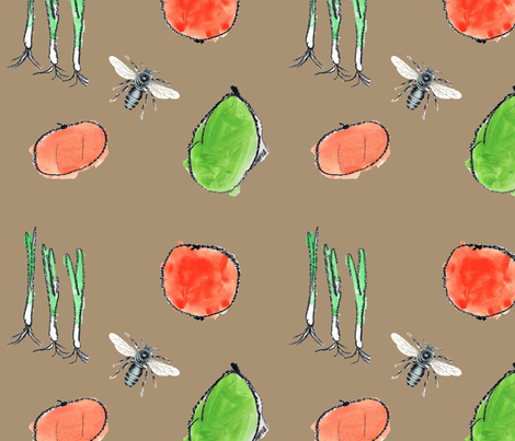 vegetables and bees fabric by janinez on Spoonflower - custom fabric