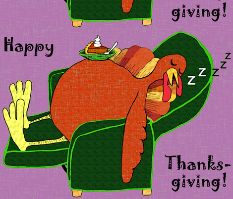 Stuffed Turkey w/ Pumpkin Pie large scale fabric by amy_g on Spoonflower - custom fabric