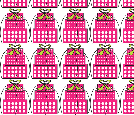 Pink White Polka Dot Gift boxes fabric by lesrubadesigns on Spoonflower - custom fabric