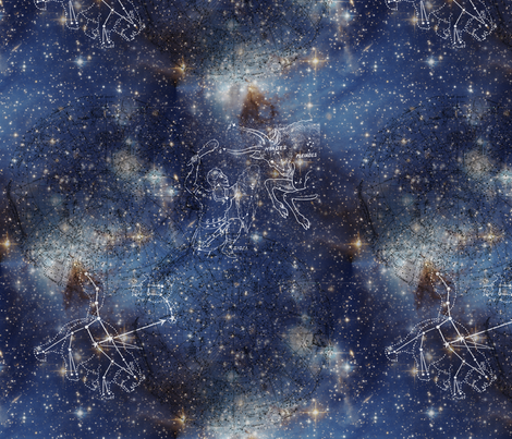 Starry Space Orion and Big Dipper fabric by 13moons_design on Spoonflower - custom fabric